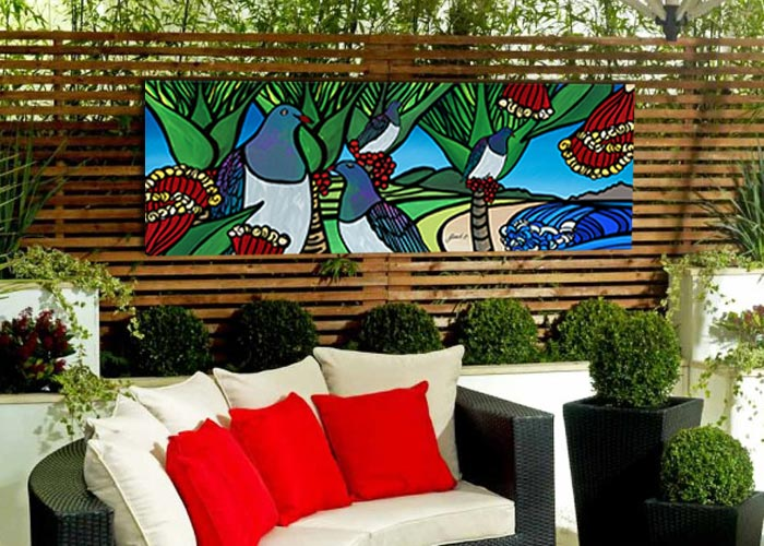 Outdoor art on gloss panels by NZ artist Sarah C, Mangawhai